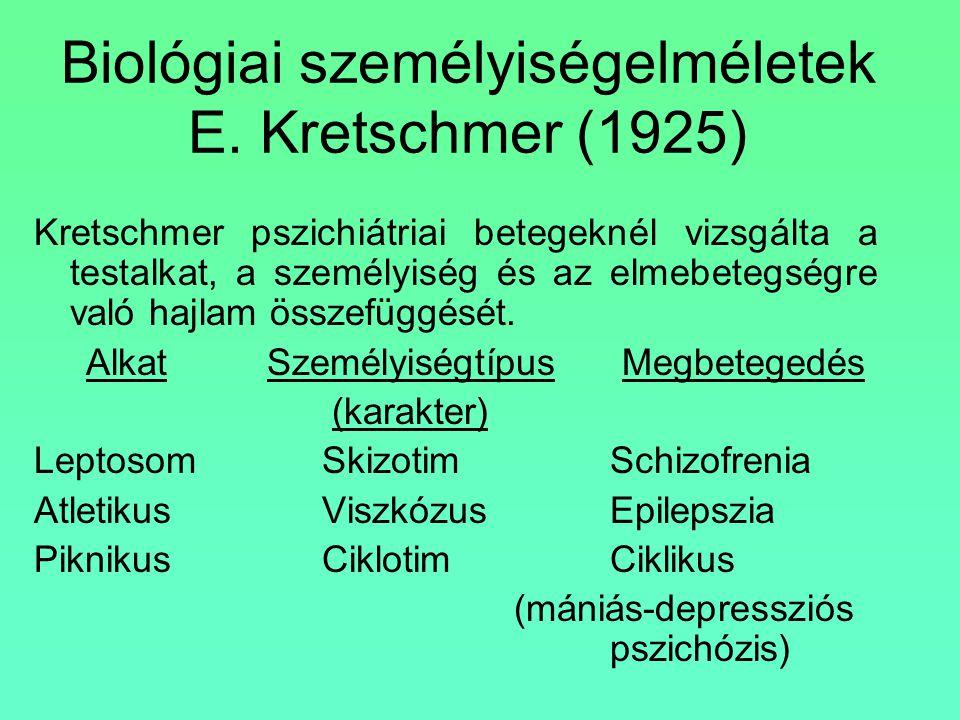 Biológiai személyiségelméletek E. Kretschmer (1925) Kretschmer pszichiátriai betegeknél vizsgálta a testalkat, a személyiség és az elmebetegségre való