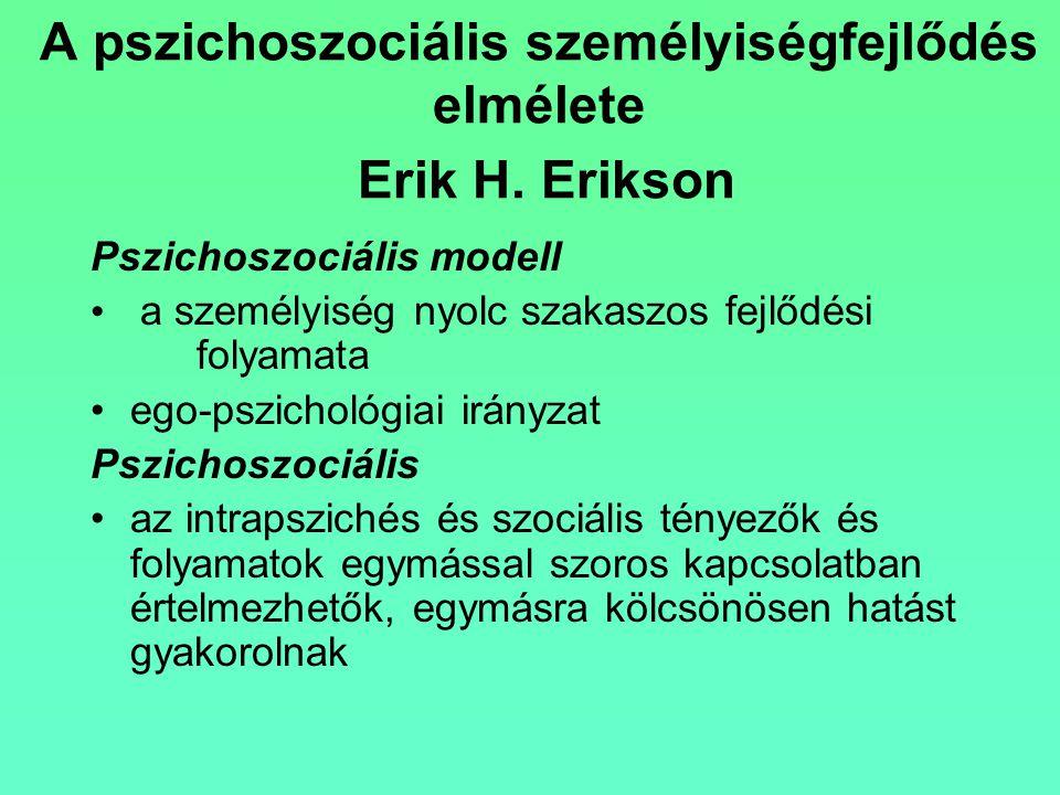 A pszichoszociális személyiségfejlődés elmélete Erik H. Erikson Pszichoszociális modell a személyiség nyolc szakaszos fejlődési folyamata ego-pszichol