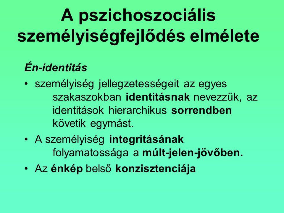 A pszichoszociális személyiségfejlődés elmélete Én-identitás személyiség jellegzetességeit az egyes szakaszokban identitásnak nevezzük, az identitások