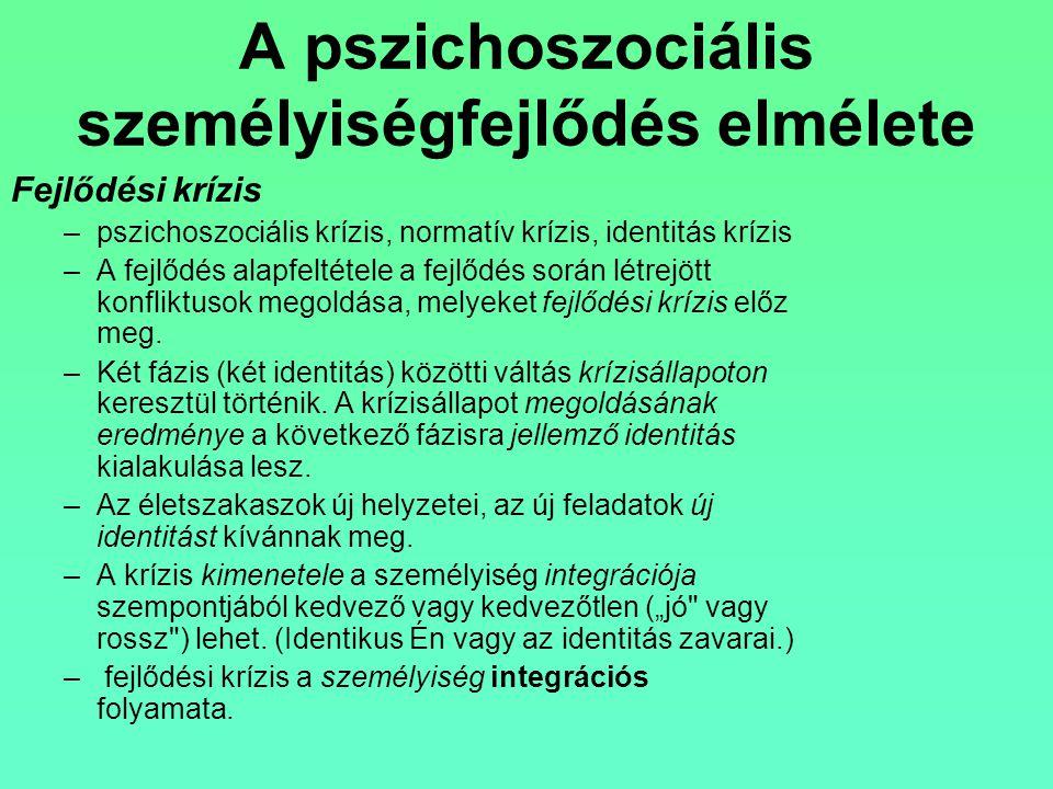 A pszichoszociális személyiségfejlődés elmélete Fejlődési krízis –pszichoszociális krízis, normatív krízis, identitás krízis –A fejlődés alapfeltétele