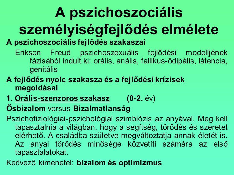 A pszichoszociális személyiségfejlődés elmélete A pszichoszociális fejlődés szakaszai Erikson Freud pszichoszexuális fejlődési modelljének fázisából i