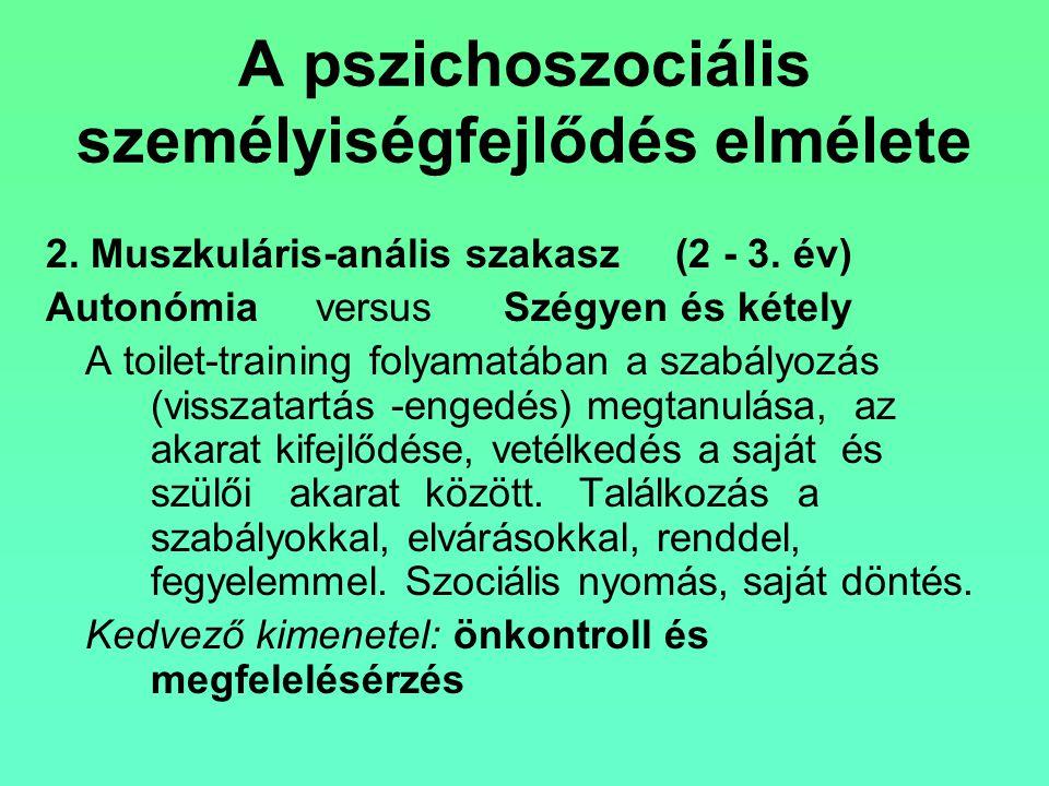 A pszichoszociális személyiségfejlődés elmélete 2. Muszkuláris-anális szakasz(2 - 3. év) Autonómia versus Szégyen és kétely A toilet-training folyamat