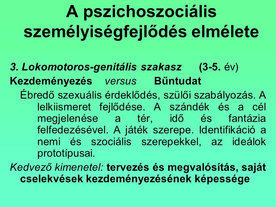 A pszichoszociális személyiségfejlődés elmélete 3. Lokomotoros-genitális szakasz (3-5. év) Kezdeményezés versus Bűntudat Ébredő szexuális érdeklődés,