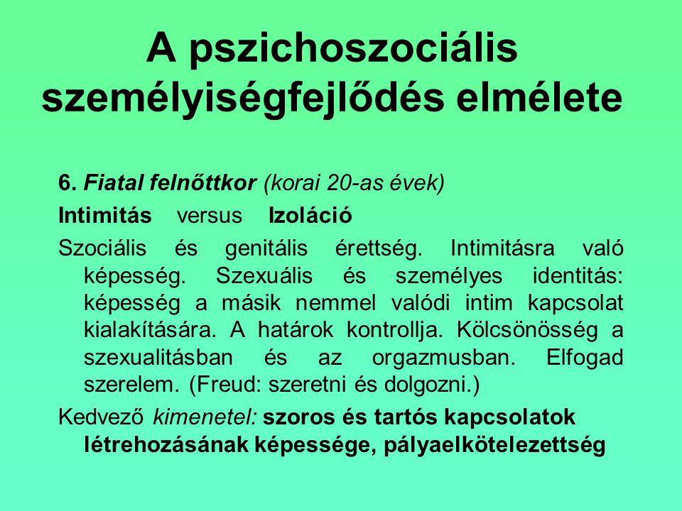 A pszichoszociális személyiségfejlődés elmélete 6. Fiatal felnőttkor(korai 20-as évek) Intimitás versus Izoláció Szociális és genitális érettség. Inti