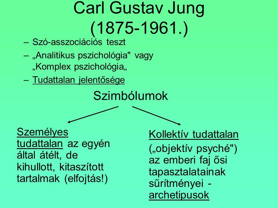 """Carl Gustav Jung (1875-1961.) –Szó-asszociációs teszt –""""Analitikus pszichológia"""
