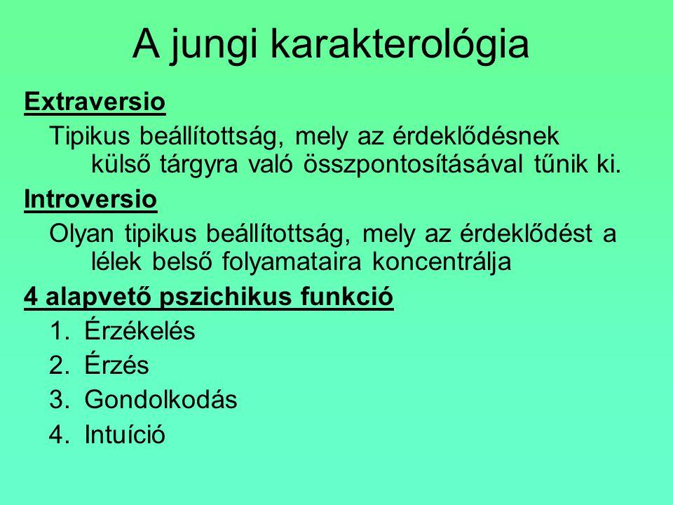 A jungi karakterológia Extraversio Tipikus beállítottság, mely az érdeklődésnek külső tárgyra való összpontosításával tűnik ki. Introversio Olyan tipi