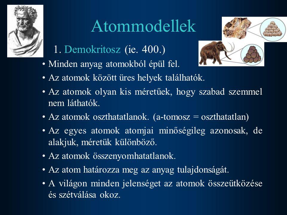 2.Dalton (1808) –Minden anyag kis építőkövekből áll, s ezeket atomoknak nevezzük.
