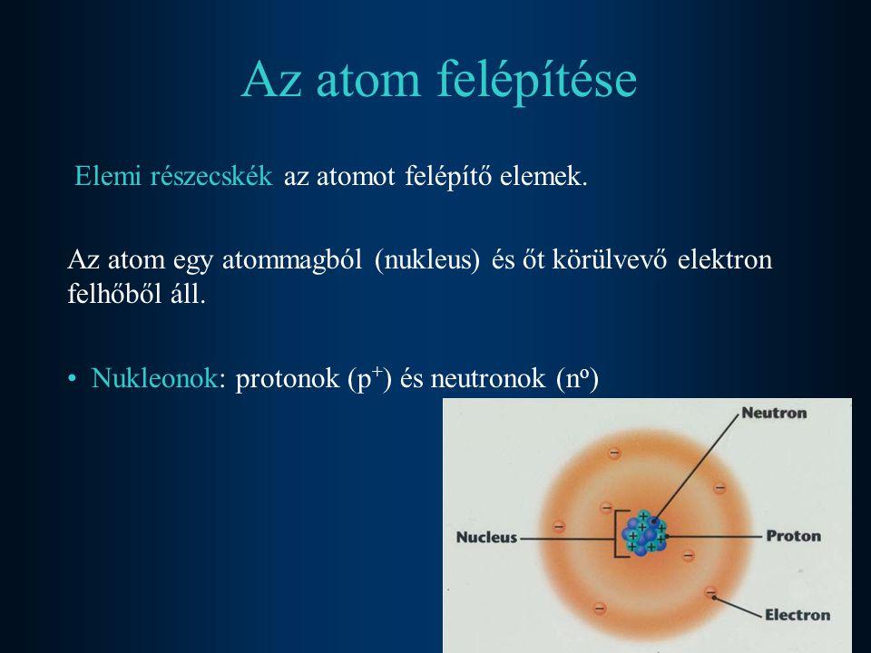 Elemi részecskeTömeg(kg)Töltés(C)Tömeg(ate)Töltés(e) elektron9,109*10 -31 -1,60219*10 -19 0,00055 -1 proton1,672*10 -27 +1,60219*10 -19 1,00728 +1 neutron1,674*10 -27 01,00866 0