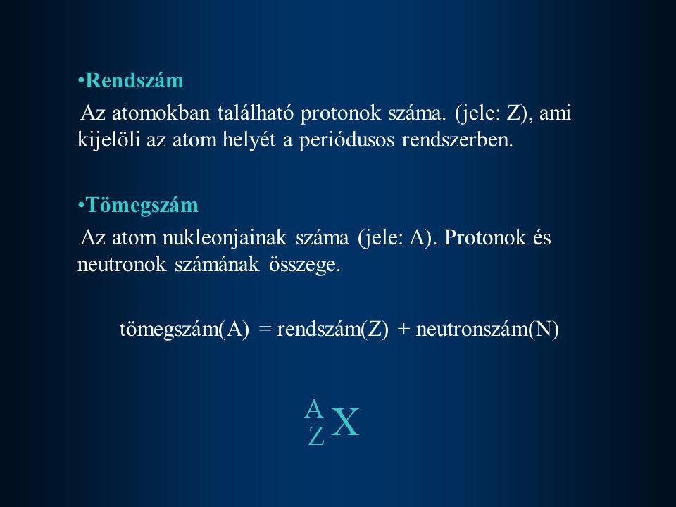 Izotópok Az azonos rendszámú, de eltérő neutronszámú (tömegszámú) atomok.