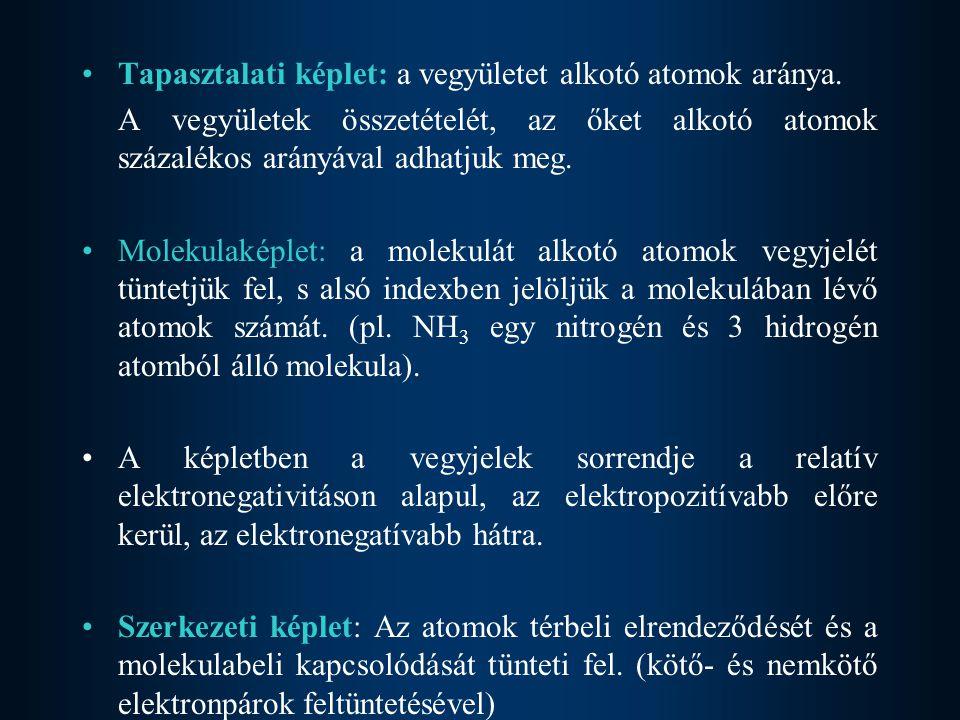 A vegyületek elnevezésekor a leggyakrabban használt formája a következő: –Az elektropozitív vegyjel az elektronegatív előtt helyezkedik el –Az elektronegatív elnevezésekor az elem neve –id végződést kap.