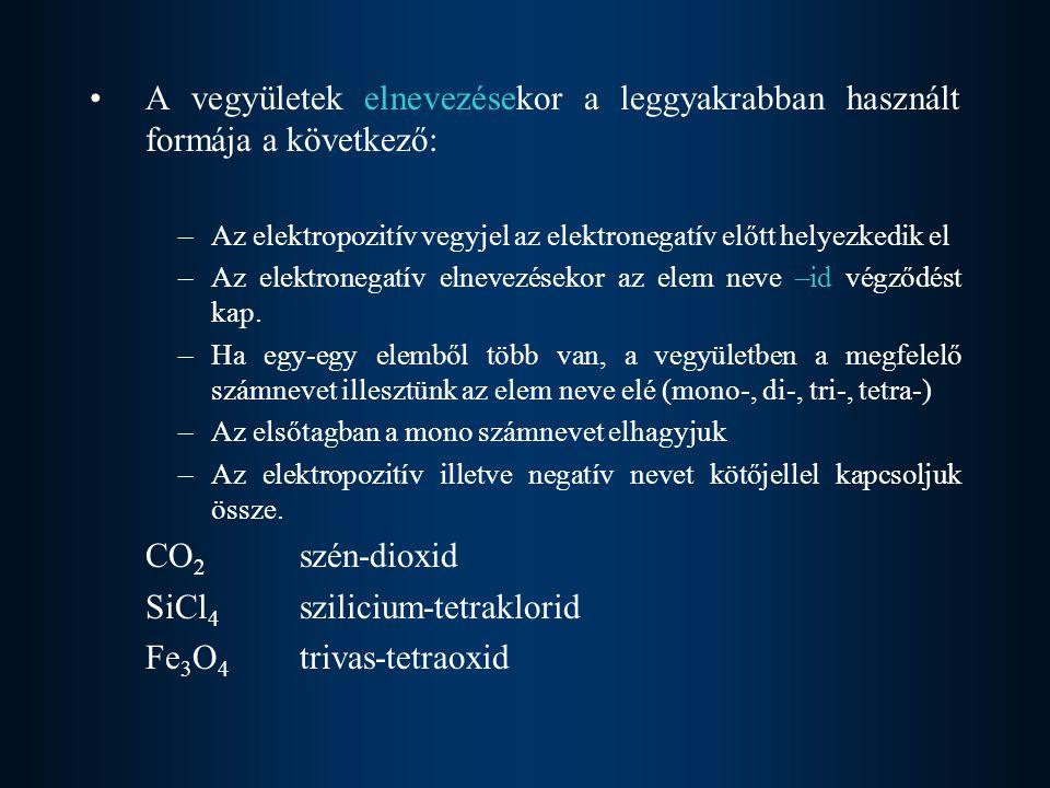  Oxidációsszám jelölése: az elem neve után kerek zárójelbe tett római számmal  Az oxidációsszám lehet, pozitív, negatív és zérus is.