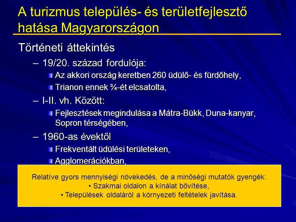 A turizmus település- és területfejlesztő hatása Magyarországon Történeti áttekintés –19/20. század fordulója: Az akkori ország keretben 260 üdülő- és