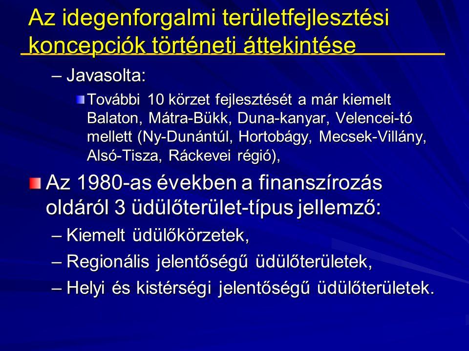 Az idegenforgalmi területfejlesztési koncepciók történeti áttekintése –Javasolta: További 10 körzet fejlesztését a már kiemelt Balaton, Mátra-Bükk, Du