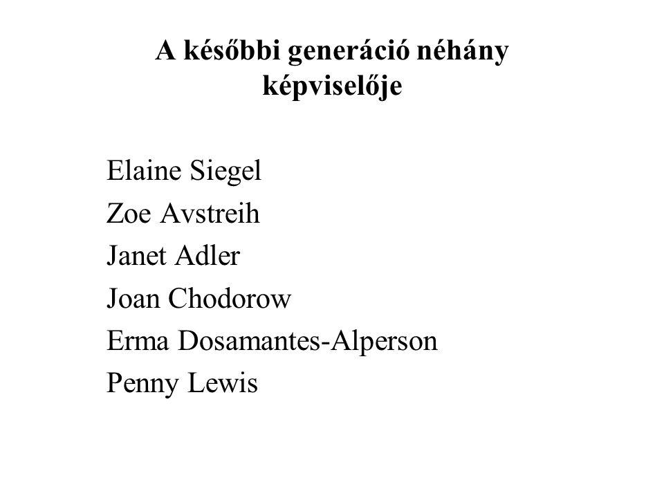 A későbbi generáció néhány képviselője Elaine Siegel Zoe Avstreih Janet Adler Joan Chodorow Erma Dosamantes-Alperson Penny Lewis