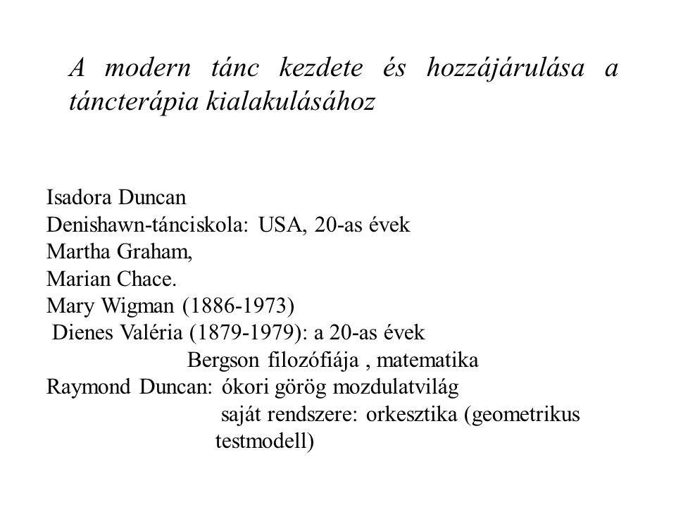 A modern tánc kezdete és hozzájárulása a táncterápia kialakulásához Isadora Duncan Denishawn-tánciskola: USA, 20-as évek Martha Graham, Marian Chace.