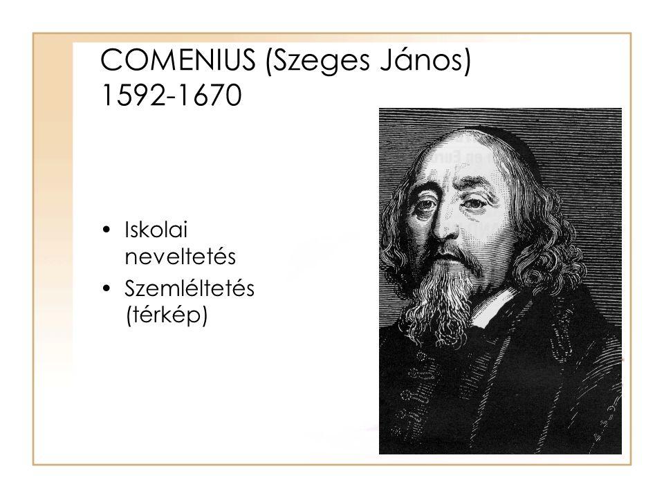 COMENIUS (Szeges János) 1592-1670 Iskolai neveltetés Szemléltetés (térkép)
