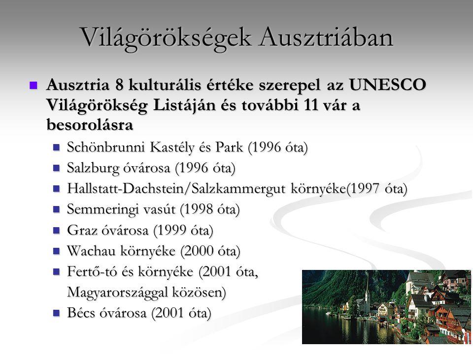 Világörökségek Ausztriában Ausztria 8 kulturális értéke szerepel az UNESCO Világörökség Listáján és további 11 vár a besorolásra Ausztria 8 kulturális
