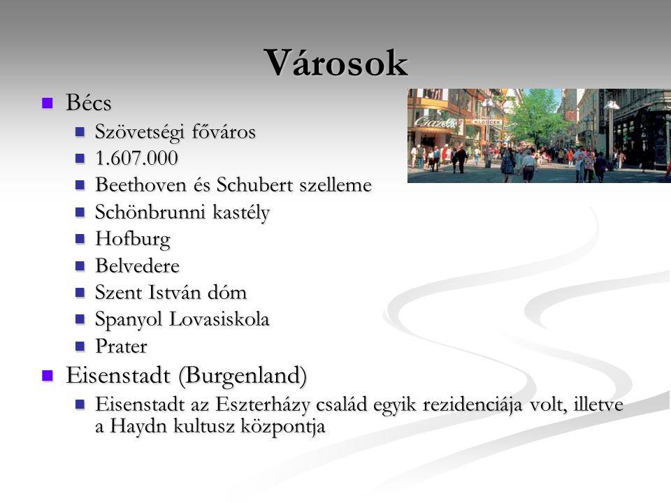 Városok Bécs Bécs Szövetségi főváros Szövetségi főváros 1.607.000 1.607.000 Beethoven és Schubert szelleme Beethoven és Schubert szelleme Schönbrunni