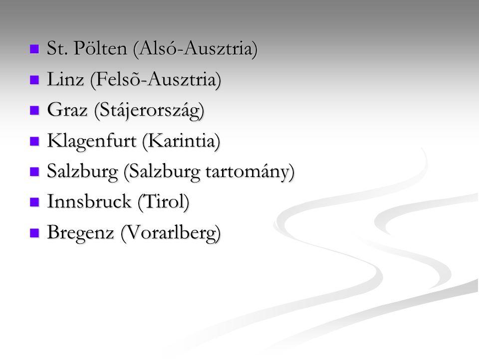 St. Pölten (Alsó-Ausztria) St. Pölten (Alsó-Ausztria) Linz (Felsõ-Ausztria) Linz (Felsõ-Ausztria) Graz (Stájerország) Graz (Stájerország) Klagenfurt (