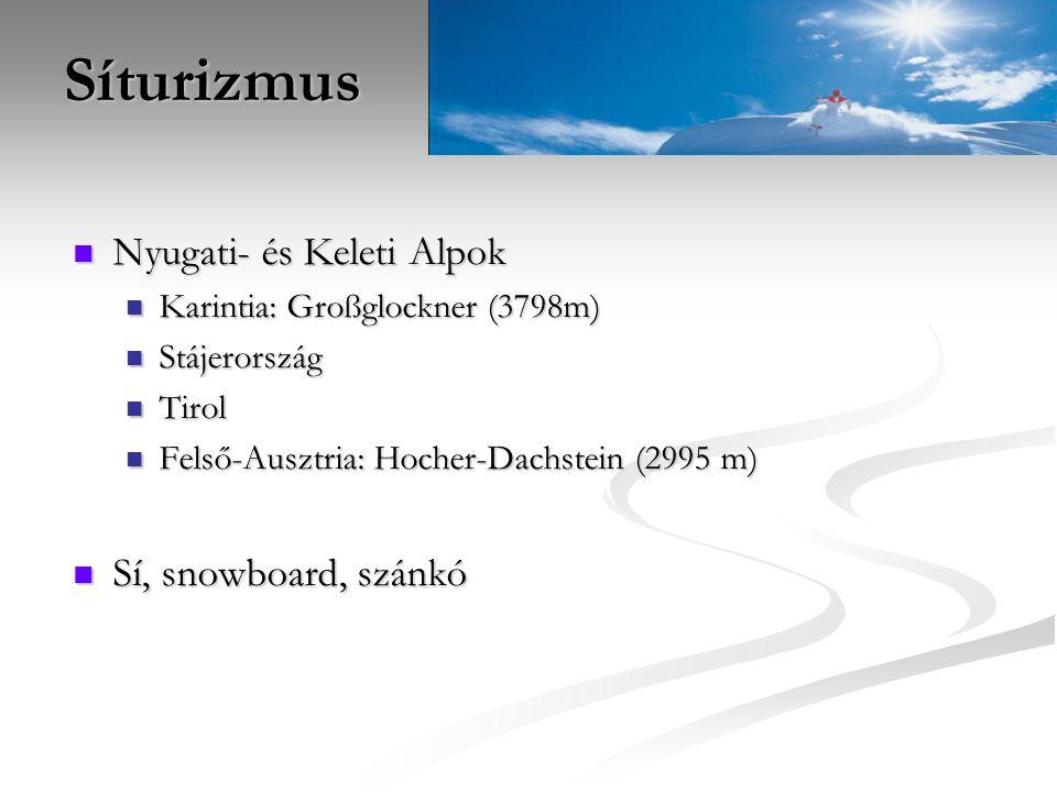 Síturizmus Nyugati- és Keleti Alpok Karintia: Großglockner (3798m) Stájerország Tirol Felső-Ausztria: Hocher-Dachstein (2995 m) Sí, snowboard, szánkó