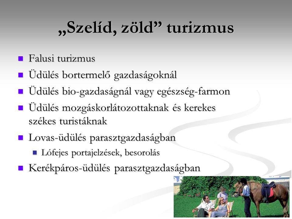 """""""Szelíd, zöld"""" turizmus Falusi turizmus Falusi turizmus Üdülés bortermelő gazdaságoknál Üdülés bortermelő gazdaságoknál Üdülés bio-gazdaságnál vagy eg"""