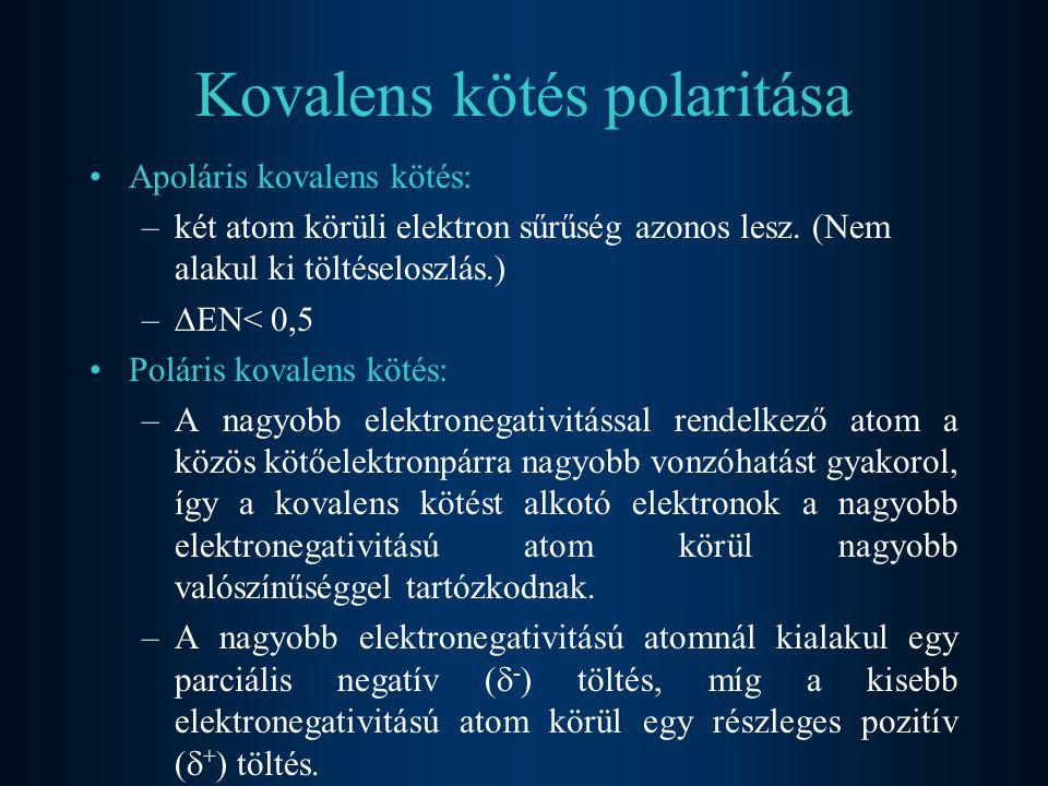 Kovalens kötés polaritása Apoláris kovalens kötés: –két atom körüli elektron sűrűség azonos lesz. (Nem alakul ki töltéseloszlás.) –  EN< 0,5 Poláris