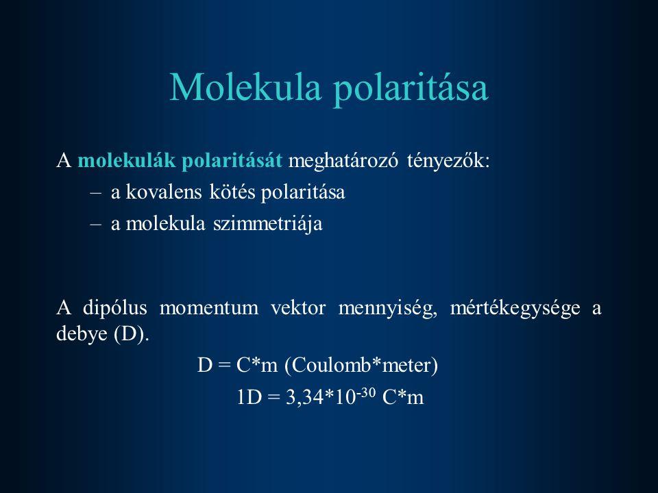 Molekula polaritása A molekulák polaritását meghatározó tényezők: –a kovalens kötés polaritása –a molekula szimmetriája A dipólus momentum vektor menn