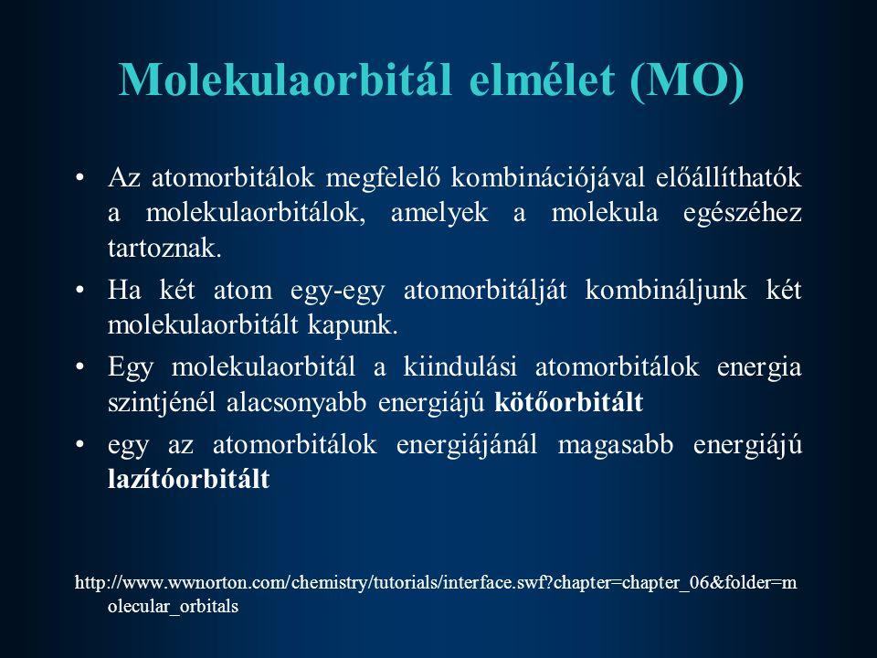 Molekulaorbitál elmélet (MO) Az atomorbitálok megfelelő kombinációjával előállíthatók a molekulaorbitálok, amelyek a molekula egészéhez tartoznak. Ha