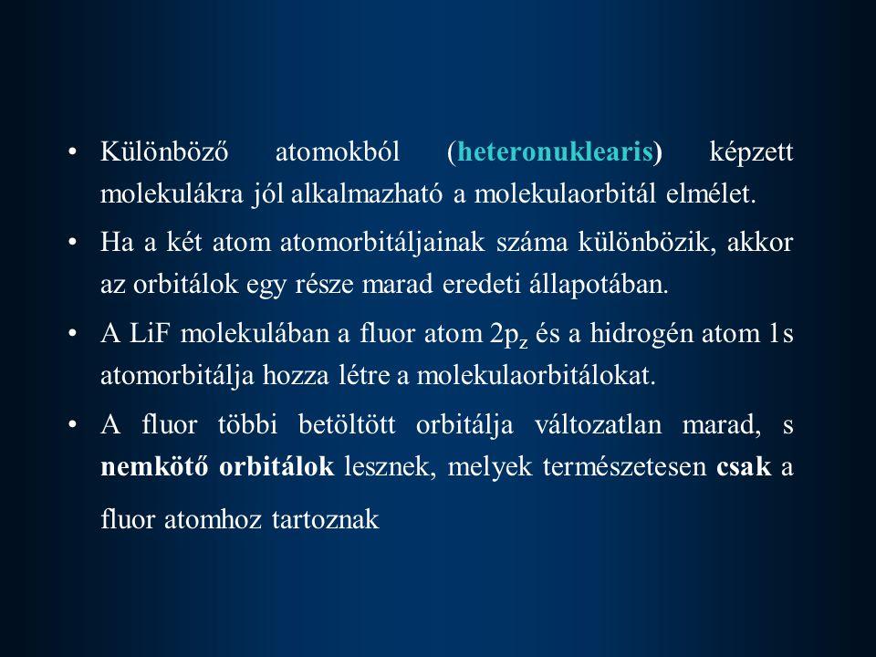 Különböző atomokból (heteronuklearis) képzett molekulákra jól alkalmazható a molekulaorbitál elmélet. Ha a két atom atomorbitáljainak száma különbözik
