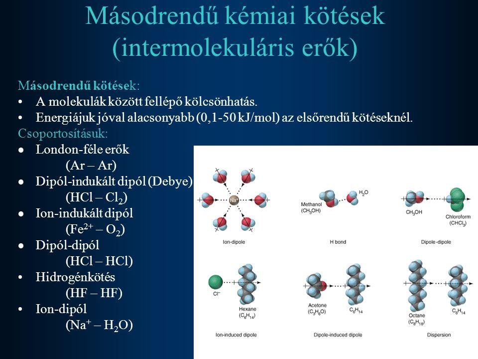 Másodrendű kémiai kötések (intermolekuláris erők) Másodrendű kötések: A molekulák között fellépő kölcsönhatás. Energiájuk jóval alacsonyabb (0,1-50 kJ