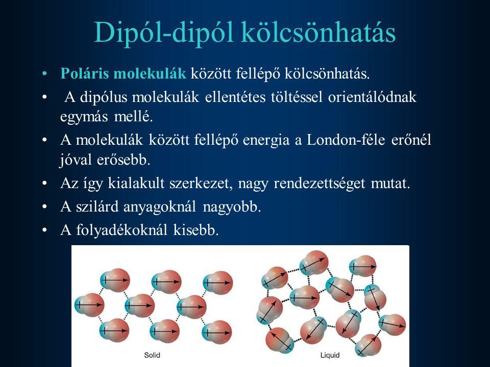 Dipól-dipól kölcsönhatás Poláris molekulák között fellépő kölcsönhatás. A dipólus molekulák ellentétes töltéssel orientálódnak egymás mellé. A molekul