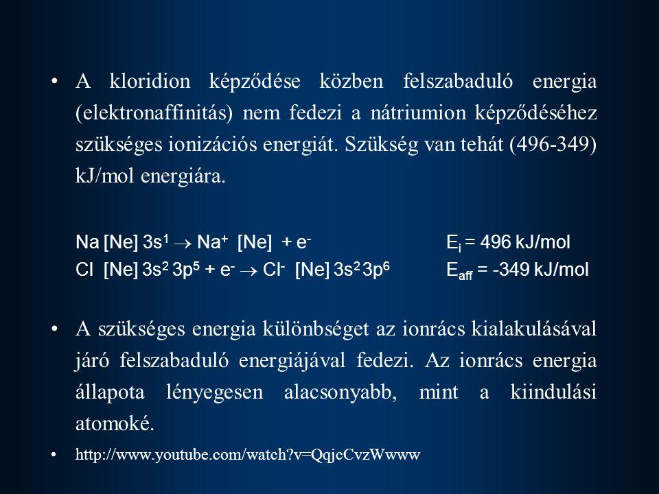 A kloridion képződése közben felszabaduló energia (elektronaffinitás) nem fedezi a nátriumion képződéséhez szükséges ionizációs energiát. Szükség van