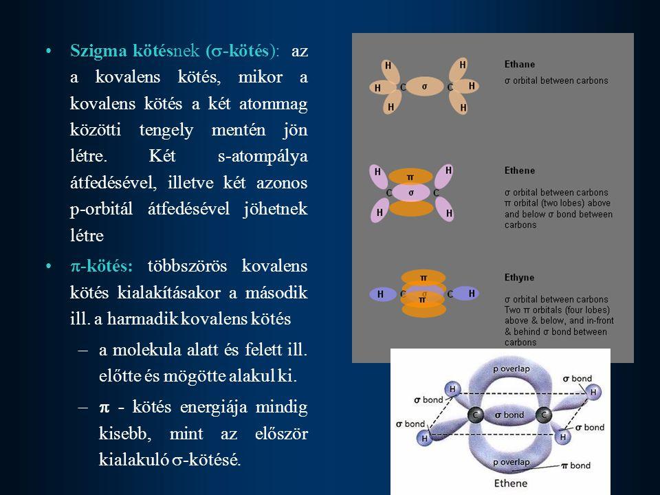 Szigma kötésnek (  -kötés): az a kovalens kötés, mikor a kovalens kötés a két atommag közötti tengely mentén jön létre. Két s-atompálya átfedésével,