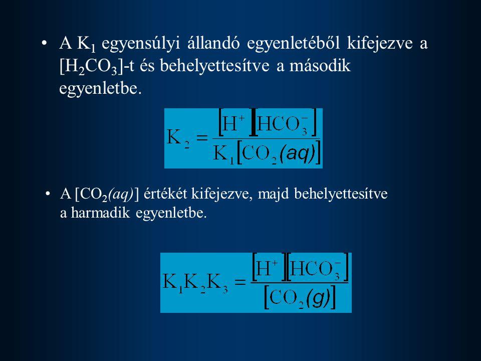 A K 1 egyensúlyi állandó egyenletéből kifejezve a [H 2 CO 3 ]-t és behelyettesítve a második egyenletbe.
