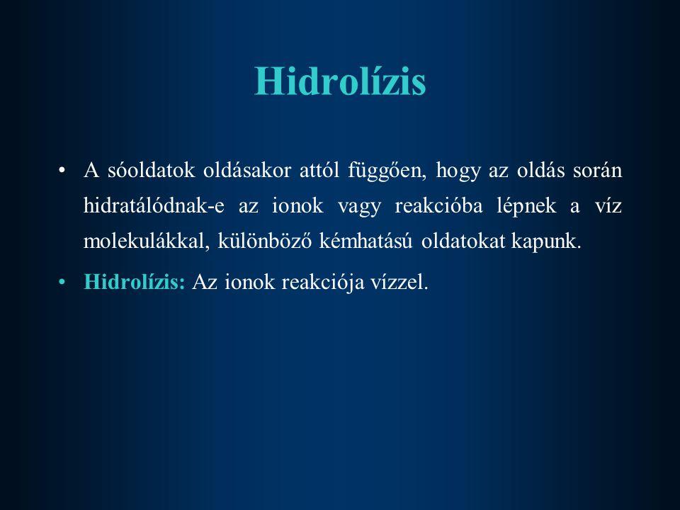 Hidrolízis A sóoldatok oldásakor attól függően, hogy az oldás során hidratálódnak-e az ionok vagy reakcióba lépnek a víz molekulákkal, különböző kémhatású oldatokat kapunk.