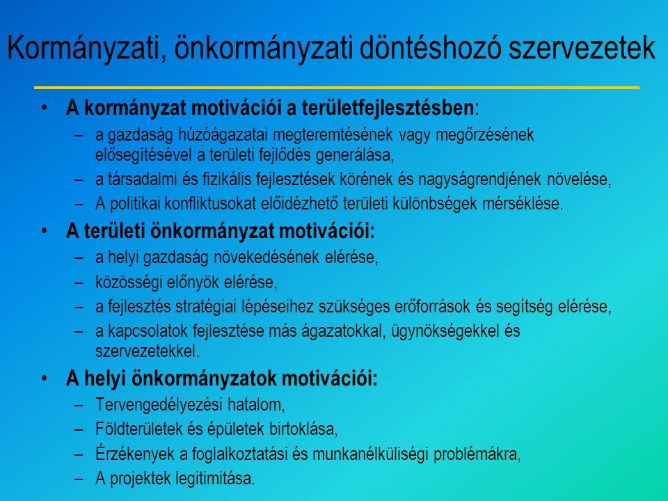 Kormányzati, önkormányzati döntéshozó szervezetek A kormányzat motivációi a területfejlesztésben : –a gazdaság húzóágazatai megteremtésének vagy megőr