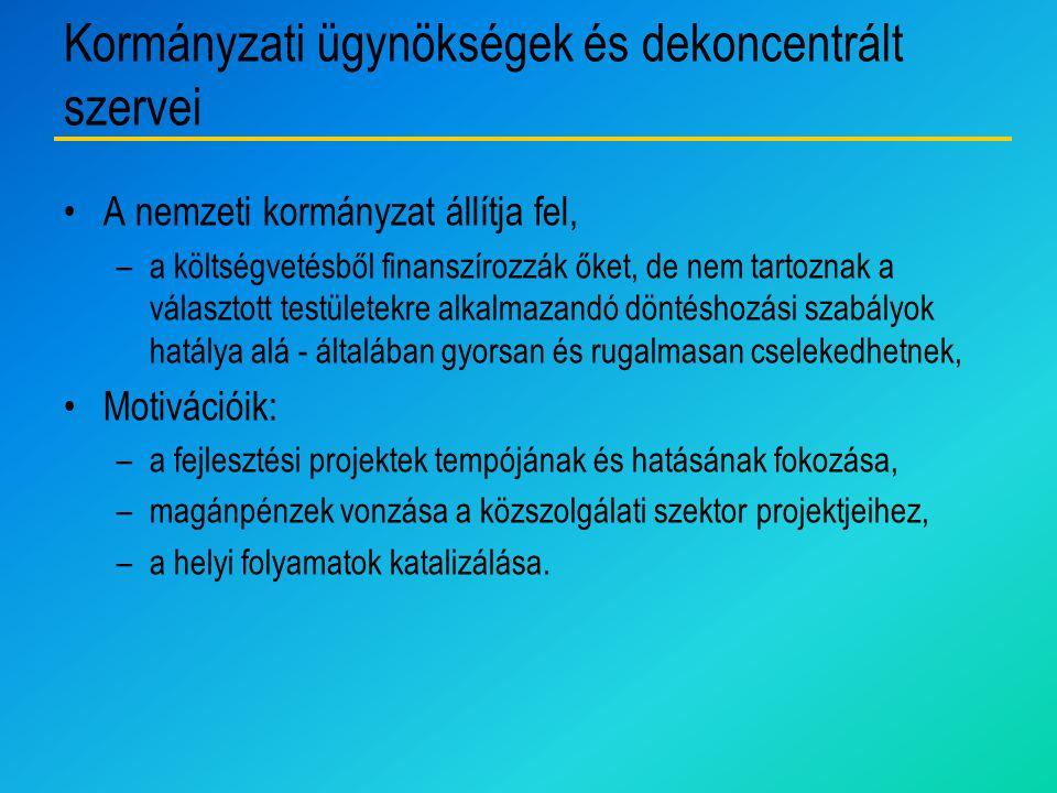 Kormányzati ügynökségek és dekoncentrált szervei A nemzeti kormányzat állítja fel, –a költségvetésből finanszírozzák őket, de nem tartoznak a választo
