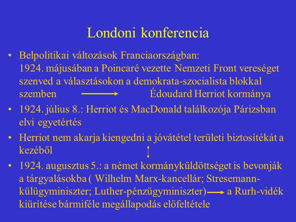 Londoni konferencia Belpolitikai változások Franciaországban: 1924. májusában a Poincaré vezette Nemzeti Front vereséget szenved a választásokon a dem