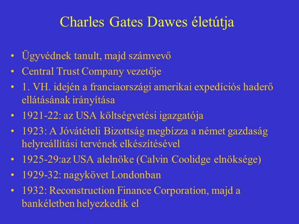 Charles Gates Dawes életútja Ügyvédnek tanult, majd számvevő Central Trust Company vezetője 1. VH. idején a franciaországi amerikai expedíciós haderő