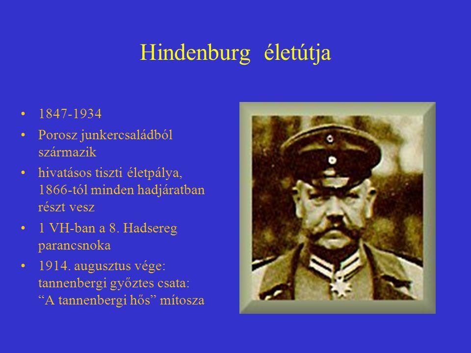Hindenburg életútja 1847-1934 Porosz junkercsaládból származik hivatásos tiszti életpálya, 1866-tól minden hadjáratban részt vesz 1 VH-ban a 8. Hadser