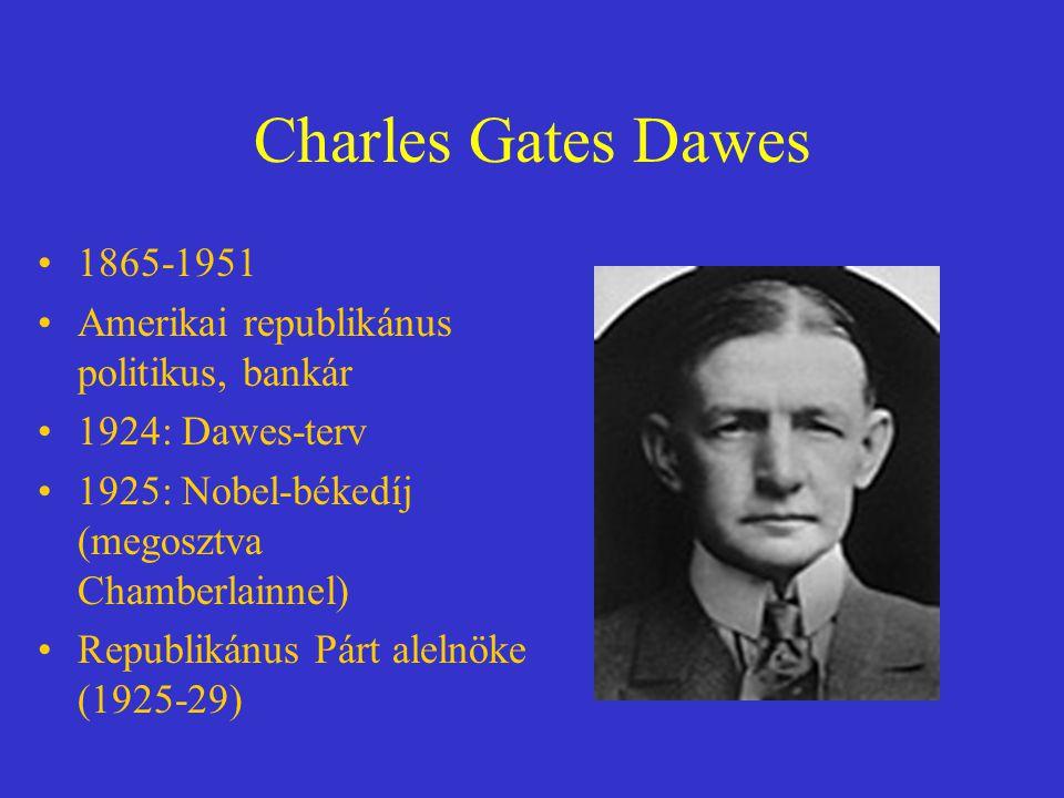 Charles Gates Dawes 1865-1951 Amerikai republikánus politikus, bankár 1924: Dawes-terv 1925: Nobel-békedíj (megosztva Chamberlainnel) Republikánus Pár