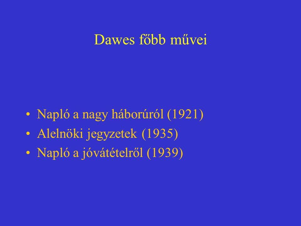 Dawes főbb művei Napló a nagy háborúról (1921) Alelnöki jegyzetek (1935) Napló a jóvátételről (1939)