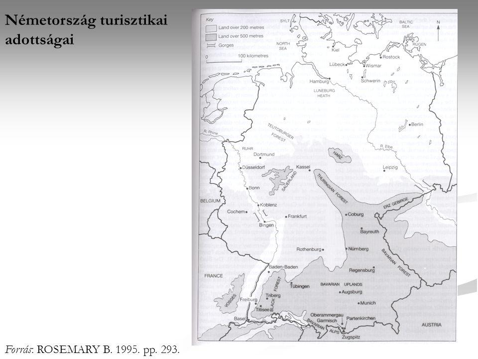 Németország turisztikai adottságai Forrás: ROSEMARY B. 1995. pp. 293.