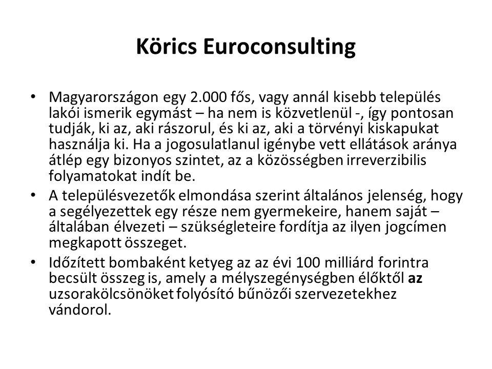 Körics Euroconsulting Magyarországon egy 2.000 fős, vagy annál kisebb település lakói ismerik egymást – ha nem is közvetlenül -, így pontosan tudják, ki az, aki rászorul, és ki az, aki a törvényi kiskapukat használja ki.