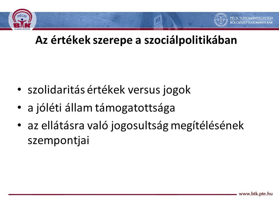Az értékek szerepe a szociálpolitikában szolidaritás értékek versus jogok a jóléti állam támogatottsága az ellátásra való jogosultság megítélésének sz
