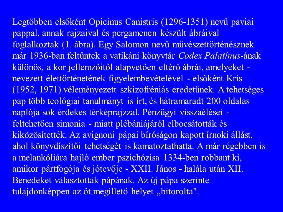 Legtöbben elsőként Opicinus Canistris (1296-1351) nevű paviai pappal, annak rajzaival és pergamenen készült ábráival foglalkoztak (1. ábra). Egy Salo