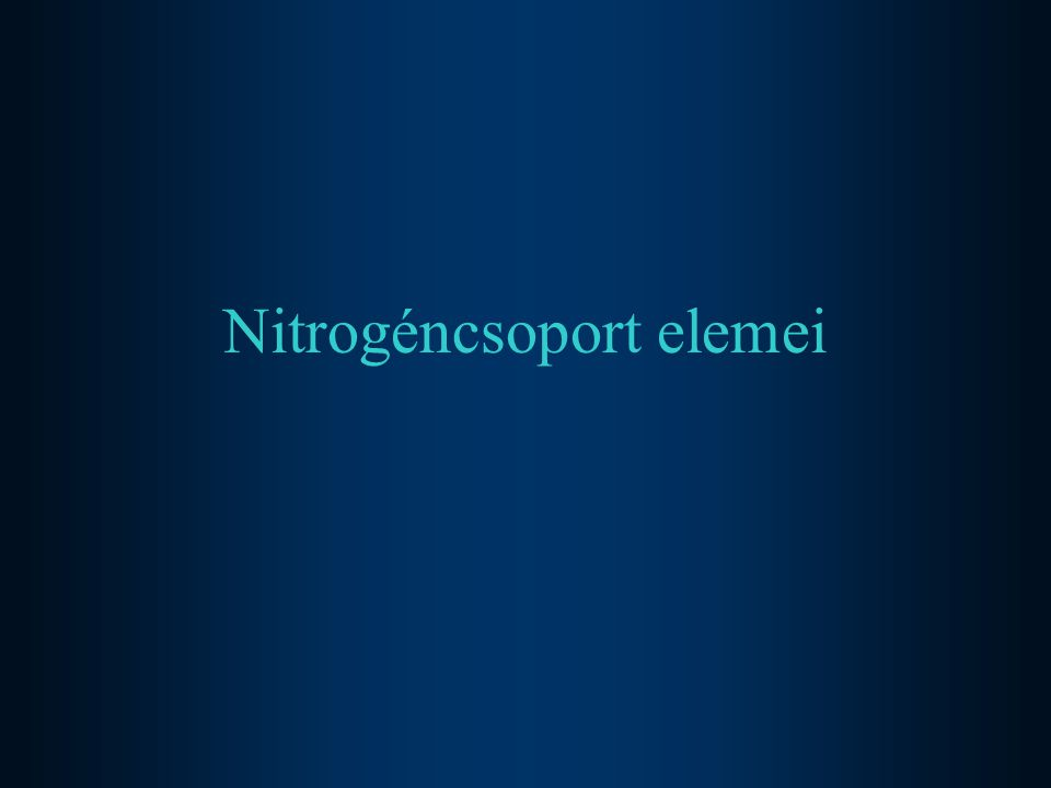 Nitrogéncsoport elemei