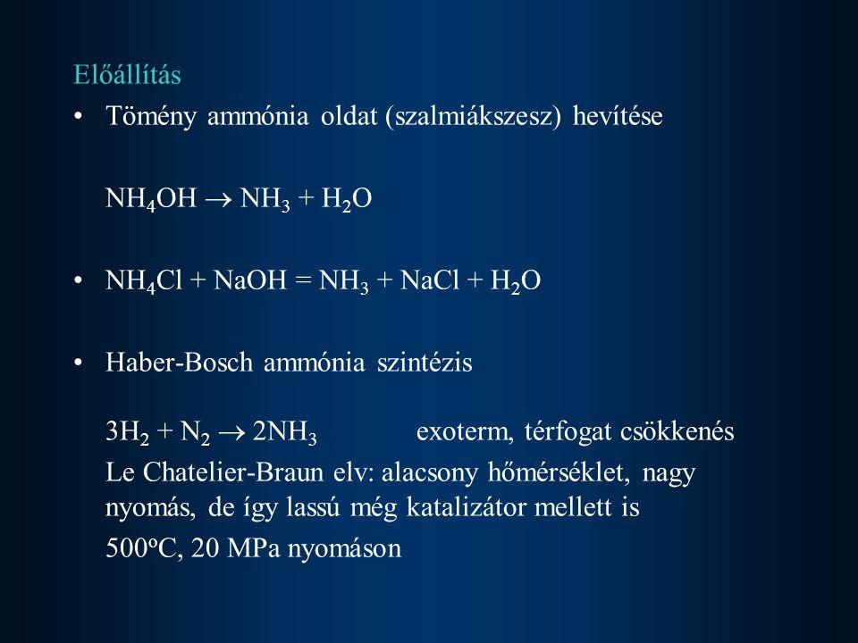 Előállítás Tömény ammónia oldat (szalmiákszesz) hevítése NH 4 OH  NH 3 + H 2 O NH 4 Cl + NaOH = NH 3 + NaCl + H 2 O Haber-Bosch ammónia szintézis 3H