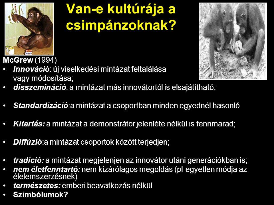 Van-e kultúrája a csimpánzoknak? McGrew (1994) Innováció: új viselkedési mintázat feltalálása vagy módosítása; disszemináció: a mintázat más innovátor