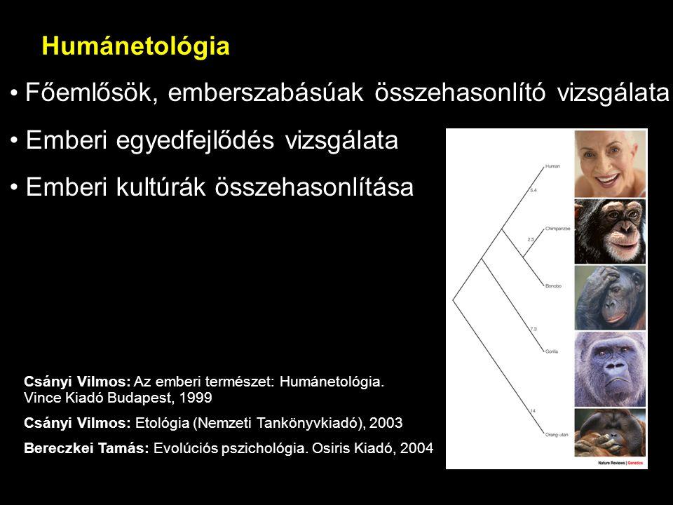 Humánetológia Főemlősök, emberszabásúak összehasonlító vizsgálata Emberi egyedfejlődés vizsgálata Emberi kultúrák összehasonlítása Csányi Vilmos: Az e